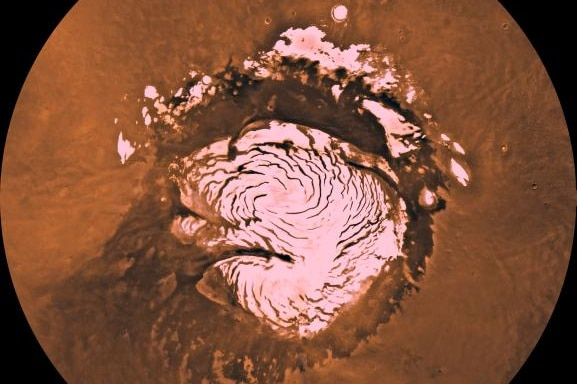 Mars' north pole taken by Viking Orbitor Mission in 1998