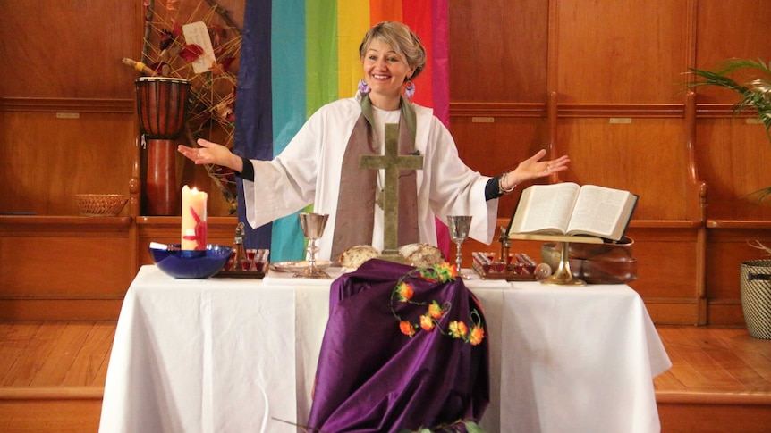 Reverend Alexandra Sangster leads a service at St Andrews Uniting Church in Fairfield.