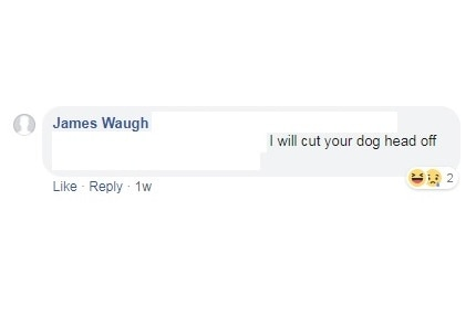 A Facebook comment by James Waugh reading: I will cut your dog head off.