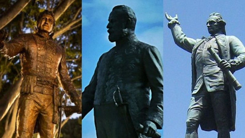 Composite image of statues of Lachlan Macquarie, Charles Cameron Kingston and Captain James Cook.