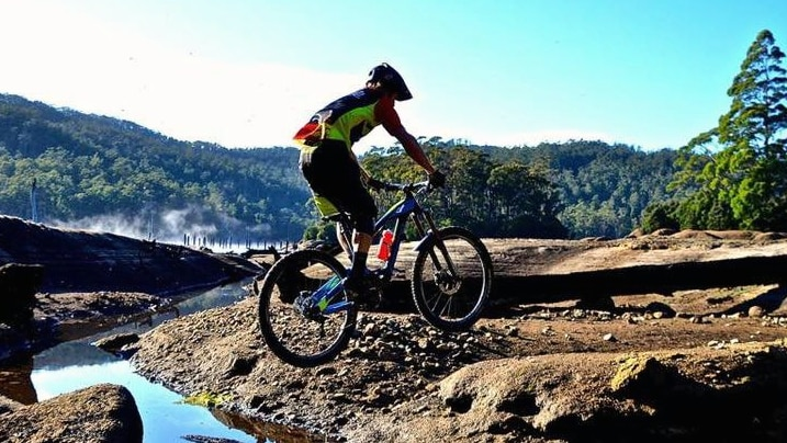 A rider on the mountain bike trails at Derby in Tasmania's north-east.