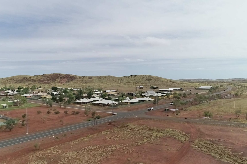 The community of Roebourne from above in a drone shot