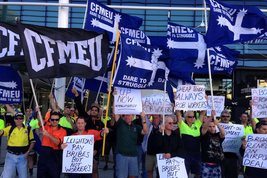 CFMEU protests outside Leighton Holdings' Perth office claiming construction workers at the Perth Airport are being underpaid