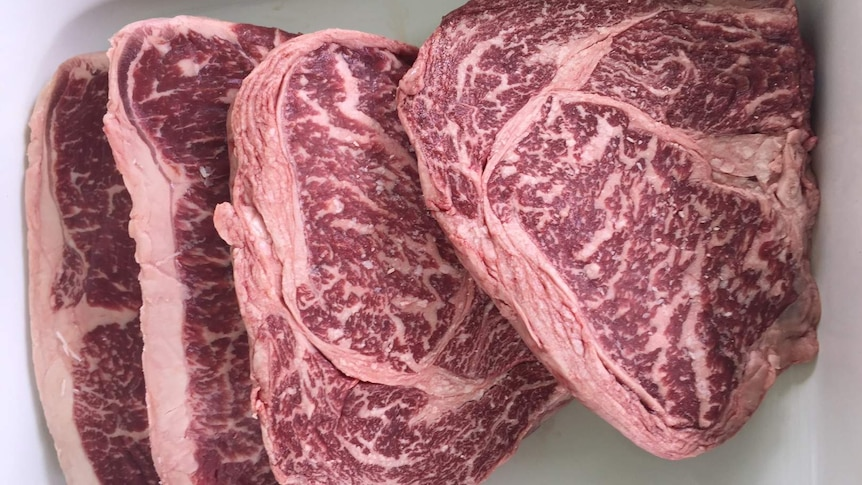 Wagyu steak with the distinctive marbling.