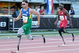 Athletes Alan Oliviera and Blake Leeper running on track in France