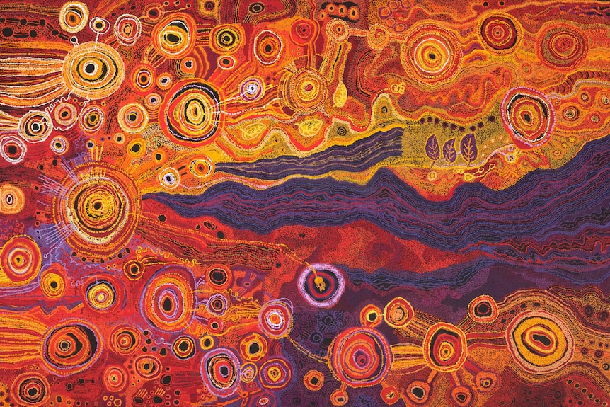 A painting by the Ken Family Collaborative with bright colours, lines and dots, depicting the story of the Seven Sisters
