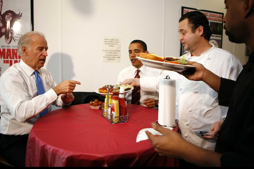 Barack Obama and Joe Biden order burgers from a burger joint in Virginia.