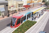 Artist's impression of SA Labor's proposed Adelaide tramline extension to Norwood