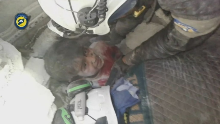 Boy rescued after eastern Aleppo airstrike