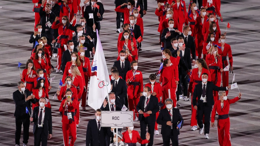 A world superpower is missing from these Olympics, replaced by the initials ROC