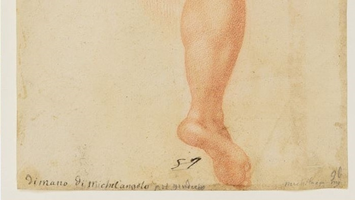 """Detail of inscription """"from Michelangelo's hand""""."""