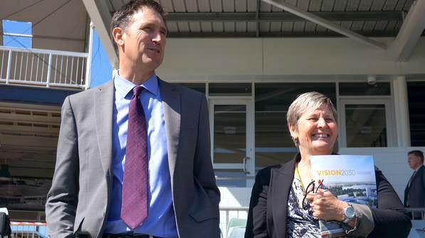 Cricket Australia CEO James Sutherland and WACA CEO Christina Matthews