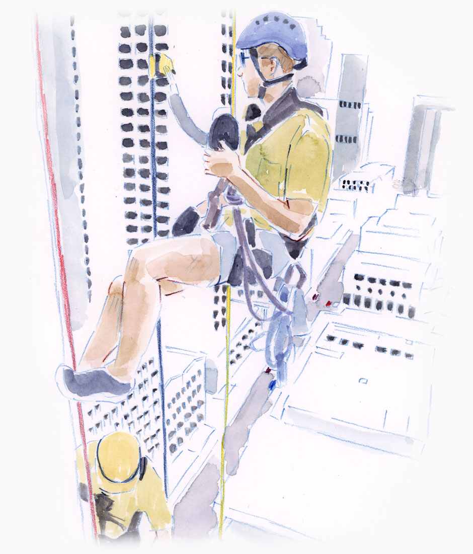 Two men abseiling down a building with the city below them.