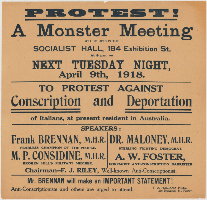 A poster advertising an anti-conscription protest in 1918.