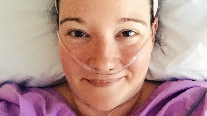 Alexandra Dunn lying in hospital, in a story about when and how to seek second medical opinion.