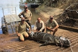 Four rangers with a tied-up crocodile on a boat ramp