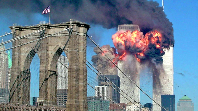 A photo showing the 9/11 attack on the Twin Towers in 2001.