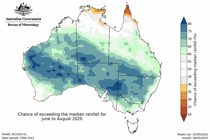 Map of Australia showing 60 to 80 % chance of above median rainfall in a band from the central west coast to the south east.