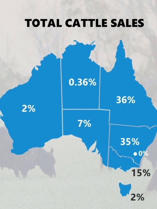 A map of Australia with the heading 'Total Cattle Sales' and a percentage shown in each state and territory.