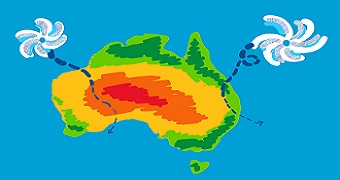Drawing of Australia with two cyclones.