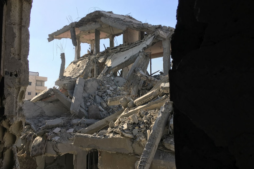 Ruins of a house in Raqqa after Islamic State conflict.