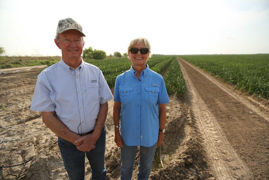 Two farmers standing in an onion field