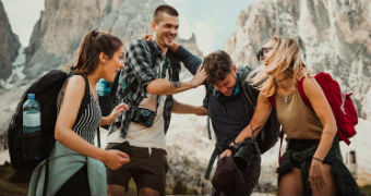 A group of travelling friends on a holiday for story about travel insurance