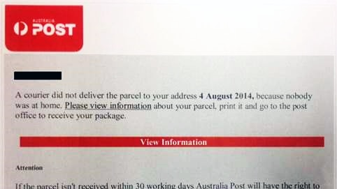A screenshot of fake emails posing as a parcel delivery notification from Australia Post.