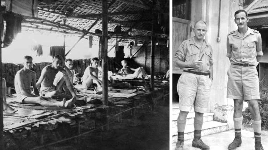 Makeshift hospital on the Thai-Burma railway and Weary Dunlop