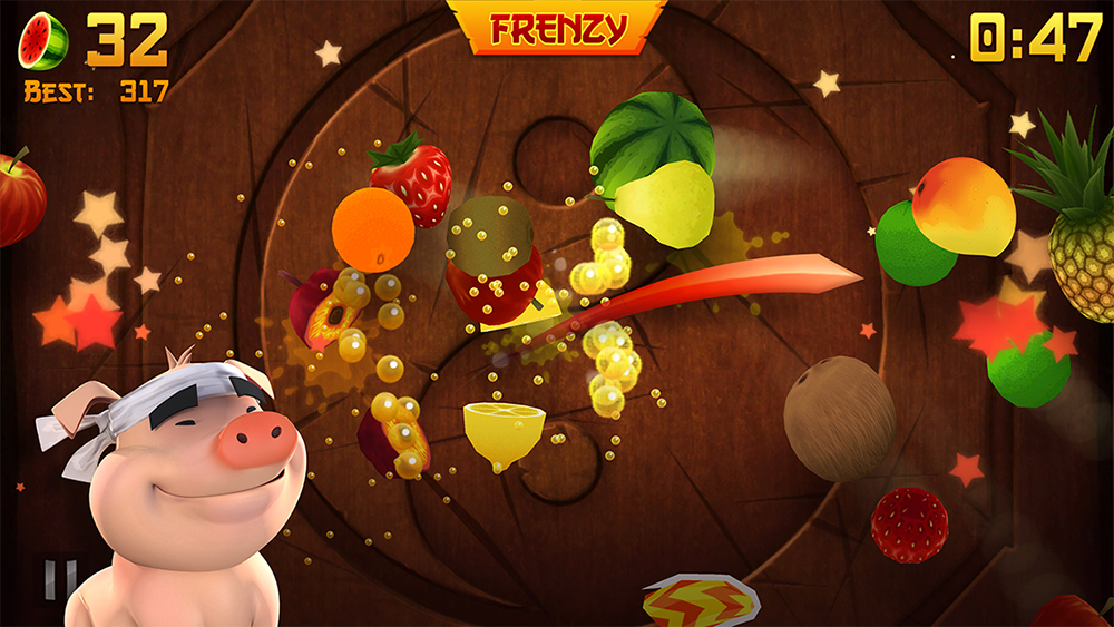 In a scene from a video game a pig-like character with white bandana watches flying fruit being sliced in mid-air.