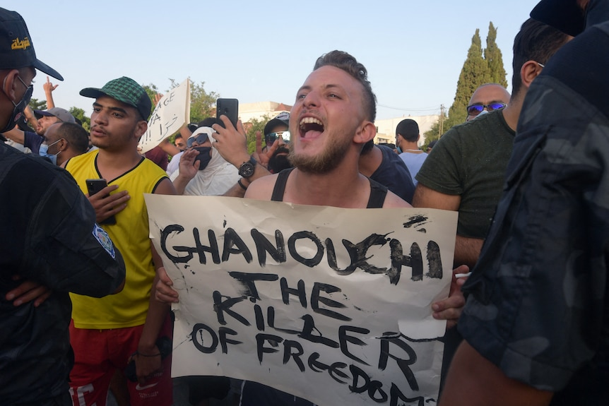 Protester with placard