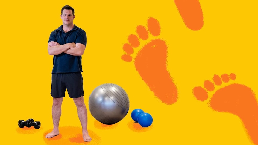 Male physiotherapist standing in front of exercise equipment to depict exercises to strengthen lower body when standing all day.