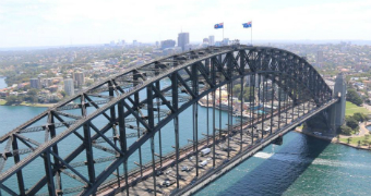 An aerial image of the Sydney Harbour Bridge