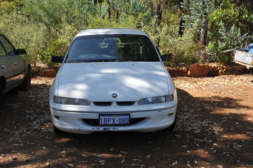 A white Holden Commodore pictured front on with bushland behind it.