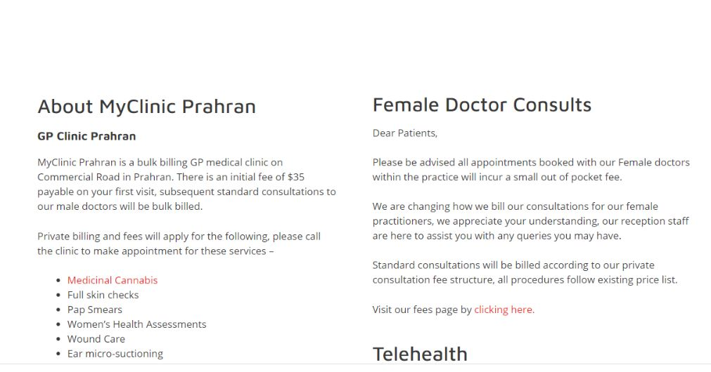 A screenshot from a website informing patients of an increase to fees for seeing female GPs.