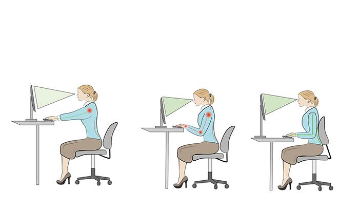 Illustration showing sitting posture at a desk