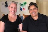 Kara Blair and Bronwyn Stuart, engaged couple in Hermannsburg west of Alice Springs.