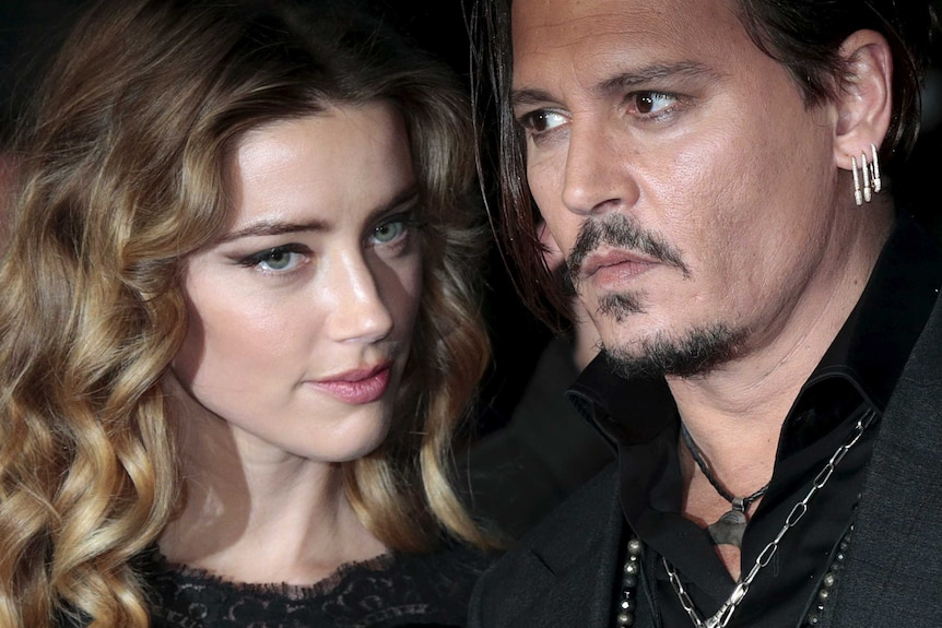 Johnny Depp and ex-wife Amber Heard at a red carpet event in 2015.