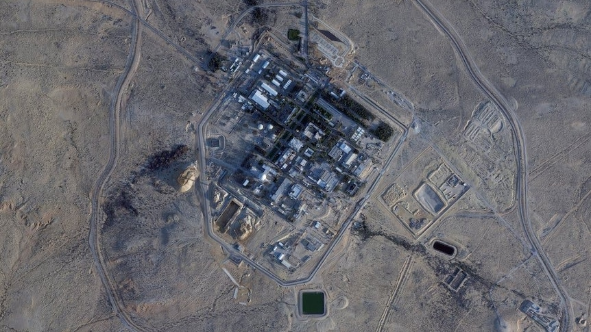 A satellite image of a facility in the desert