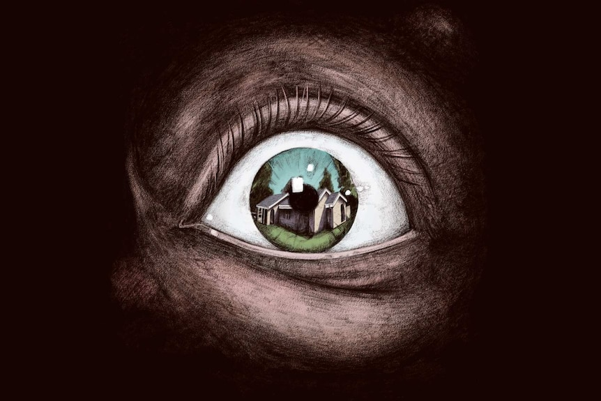 The reflection of a home in an eye.