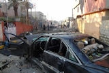 The site of a suicide bombing in the northern Iraqi city of Kirkuk