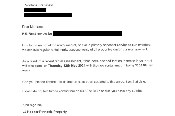 Letter from real estate agent advising rent increase