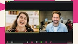 A woman and a man on a Zoom video call screen.