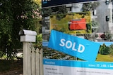 Sold sign next to letterbox and fence of Queenslander-style house.