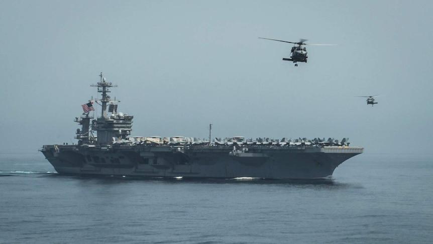 USS Theodore Roosevelt operating in the Arabian Sea