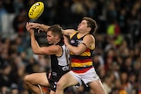 Two athletes contesting for the ball during an AFL match