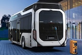 A bus powered by hydrogen refills its tank