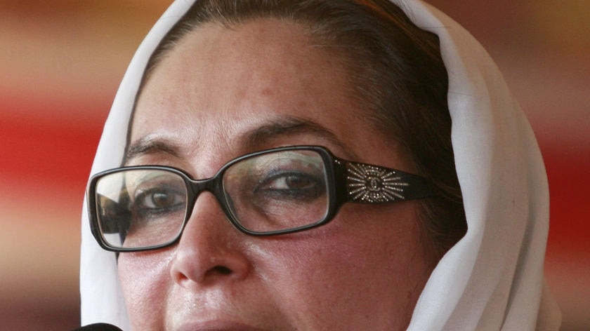 Pakistani opposition leader Benazir Bhutto speaks during an election rally in Peshawar December 26,