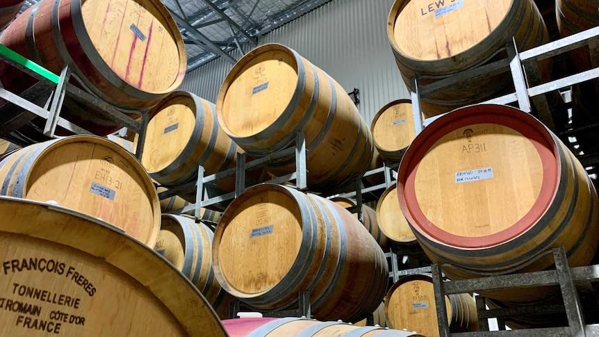 Wine oak barrels at Leogate Estate Wines