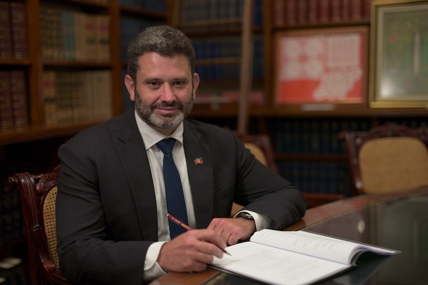 South Australian Labor MP Kyam Maher in his parliamentary office.